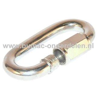 Noodschalm Ø 10,0 mm  met schroef met moer van normstaal, galvanisch verzinkt De Noodschalm van verzinkt staal gebruikt u om een gebroken ketting te repareren of een ketting te verstevigen. U kunt met de Noodschalm ook twee kettingen aan elkaar verbinden