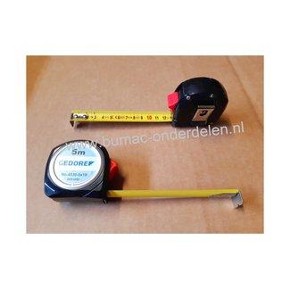 Stalen Rolmaat  5 Mtr x 19mm met Bevestigingsclip en Terugloopstop Maten in Millimeters Centimeter, Rolbandmaat, Meetlint, Maatlint