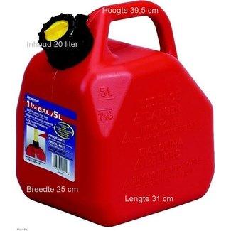 Handige jerrycan van 20  liter Met flexibele vulslang zodat je nooit meer morst. Verkrijgbaar in 5 liter, 10 liter, 20 liter. Gemaakt uit hoogwaardig kunststof. Aparte ventilatie. Speciaal ontwerp om makkelijk te gieten. Morsvrij systeem. De