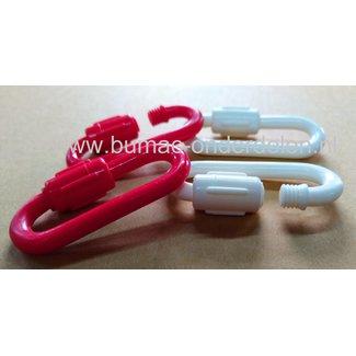 Noodschalm Ø 6 mm met schroef met moer van kunststof, 2 stuks rood/wit  gebruikt u om een gebroken ketting te repareren of een ketting te verstevigen. U kunt met de Noodschalm ook twee kettingen aan elkaar verbinden