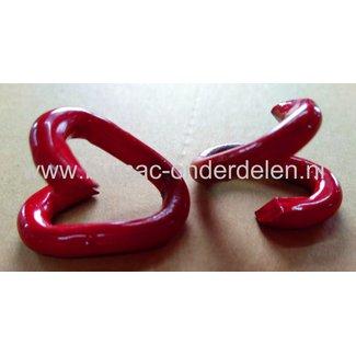 Noodschakel 6 mm Bekleed met Rood Kunststof  ook wel 'quicklink' of snelsluiting genoemd, kan dicht geknepen worden waardoor een verbinding snel tot stand kan worden gebracht  Geschikt voor het verbinden van kettingen Staalkabels Kettingen en Toebehoren
