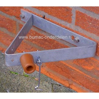 Deurvanger Verzinkt met Windhaak en Buffer 285x40 mm, Vastzethaak 100x4 mm Deuropvanger, Deuropvangbeugel