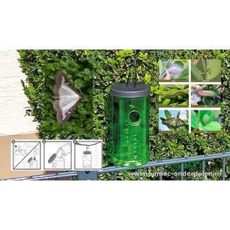 Buxusvlinderval, De dode mottencontainer is transparant waardoor inspectie van de 'vangst' eenvoudig is. Heeft een oppervlakte van 200 m2 (= een cirkel met een straal van 8 meter). De langdurige feromooncapsule is 3 maanden effectief. Het seksuele feromoo