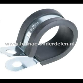 Leidingklem 24 mm Verzinkt Deze klemmen worden onder ander gebruikt voor het klemmen van Buizen, PVC buizen, Leidingen, Slangen, Kabels met een diameter van 24 mm Door de rubberen inleg zorgt de klem voor trilling demping en functioneert als bescherming v