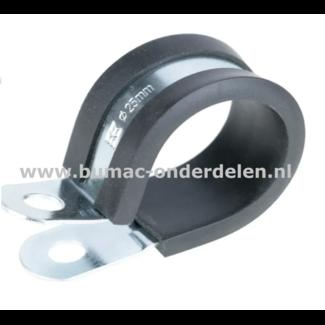 Leidingklem 28 mm Verzinkt Deze klemmen worden onder ander gebruikt voor het klemmen van Buizen, PVC buizen, Leidingen, Slangen, Kabels met een diameter van 28 mm Door de rubberen inleg zorgt de klem voor trilling demping en functioneert als bescherming v