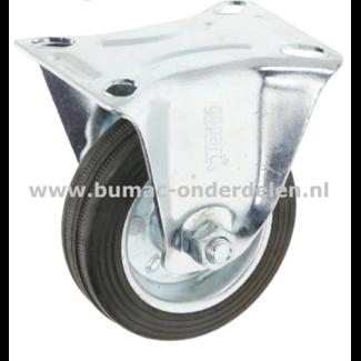 Bokwiel 75 mm met  stalenrollager Een Bokwiel is een wiel dat bewegingen naar voren en achter kan uitvoeren De Bokwielen hebben een massieve zwarte rubberband De wielkern is gemaakt van geperst plaatstaal en voorzien van een stalen rollager  Bokwiel, Wiel