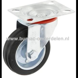 Zwenkwiel 75 mm met Stalenrollager Een Zwenkwiel is een wiel dat bewegingen naar alle kanten kan uitvoeren De Zwenkwielen hebben een massieve zwarte rubberband De wielkern is gemaakt van geperst plaatstaal en voorzien van een stalen rollager Bokwiel, Wiel