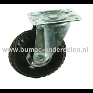 Zwenkwiel 260 mm met Luchtband 2-laags Een Zwenkwiel is een wiel dat bewegingen naar alle kanten kan uitvoeren De Zwenkwielen hebben een 2 laags Luchtband De wielkern is gemaakt van geperst plaatstaal en voorzien van een stalen rollager Bokwiel, Wie