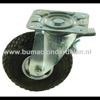 Zwenkwiel met rem 260 mm met Luchtband 2-laags Een Zwenkwiel is een wiel dat bewegingen naar alle kanten kan uitvoeren De Zwenkwielen hebben een 2 laags Luchtband De wielkern is gemaakt van geperst plaatstaal en voorzien van een stalen rollager Bokwiel,