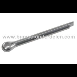Splitpen 5x28 mm Een splitpen is een stalen pen wat bestaat uit een knop en twee parallelle staven die loodrecht op de knop staan voor Aanhanger, Kunstmeststrooier,  Beluchter, Ontmosser, Grasveger, Tuinwals, Zitmaaier, Frontmaaier, Tuintrekker, Skelte -