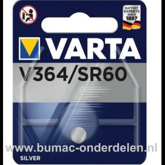 Varta Silver V364/SR60 Knoopcelbatterij 1,6 Volt De Knoopcelbatterijen zijn zeer betrouwbaar en perfect voor Professioneel en Thuis gebruik De Knoopcelbatterijen komen voor op horloges, elektronisch speelgoed, zaklampen, weegschalen en andere alledaagse a