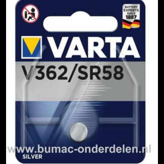 Varta Silver V362/SR58 Knoopcelbatterij 1,6 Volt De Knoopcelbatterijen zijn zeer betrouwbaar en perfect voor Professioneel en Thuis gebruik De Knoopcelbatterijen komen voor op horloges, elektronisch speelgoed, zaklampen, weegschalen en andere alledaagse a