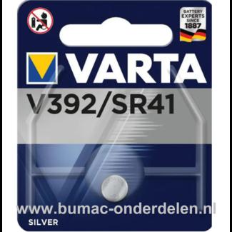 Varta Silver V392/SR41 Knoopcelbatterij 1,6 Volt De Knoopcelbatterijen zijn zeer betrouwbaar en perfect voor Professioneel en Thuis gebruik De Knoopcelbatterijen komen voor op horloges, elektronisch speelgoed, zaklampen, weegschalen en andere alledaagse a