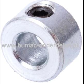 Stelringen 15x25x12 mm Verzinkt Een Stelring is een stalen ring die op een as verschuifbaar is en door middel van een schroef kan worden bevestigd worden om de Asring op de verlangde plaats te houden Door een Stelring zorg je er dus voor dat de As niet ga