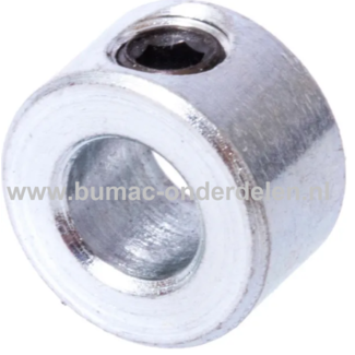 Stelringen 35x56x16 mm Verzinkt Een Stelring is een stalen ring die op een as verschuifbaar is en door middel van een schroef kan worden bevestigd worden om de Asring op de verlangde plaats te houden Door een Stelring zorg je er dus voor dat de As niet ga
