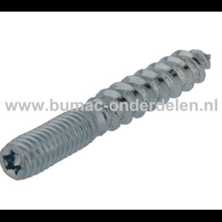 Stokschroef M6x80 mm Verzinkt Een stokschroef is aan een uiteinde voorzien van houtschroefdraad en aan het andere uiteinde van metrische schroefdraad Een stokschroef wordt aan één zijde in hout of met behulp van een plug in een muur geschroefd, en aan de