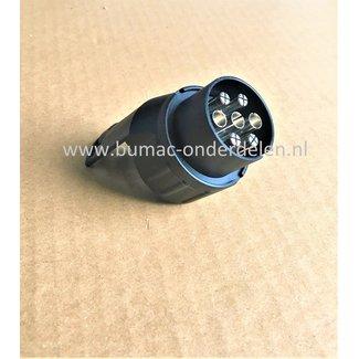 Verloopstekker Adapter 7/13 - polig Kunststof 12V-24V voor het verbinden van 13 naar 7 polig circuit  voor Aanhangers, Fietsendragers, Caravan achter Trekkers, Auto, Tussenstuk voor 13 en 7 pennen installaties, 13 naar 7 fiches