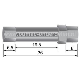 Regelschroef voor kabels Ø 6 mm Stelschroef voor Het Zelf Samenstellen van Bedieningskabels als Stuurkabel - Koppelingskabel - Gaskabel - Remkabel op Zitmaaier - Frontmaaier - Shovel - Minikraan - Quad - Scooter - Grasmaaier, Spanbout Lengte 36 mm, Buskop