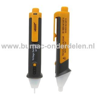 Spanningsdetector Pen Detecteerbaar AC bereik van 50 tot 1000 VAC, De Pen lokaliseert gemakkelijk een draadbreuk of Spanningzoeker met Ledlamp en Buzzer, Spanningzoeker om te kijken of er bijvoorbeeld spanning op stopcontact, Contactdoos, Zekering staat