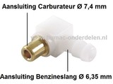 Nippel voor Benzineslang aansluiting bij Walbro Carburateur van Briggs and Stratton op Zitmaaier, Frontmaaier, Trekker
