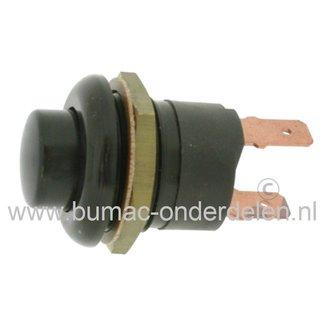 Druk Schakelaar - Startknop 12 V - 20 Amp, 24 V - 15 Amp Draad 22 mm, Buiten Ø 27 mm, 2 Stekker aansluitingen voor Zitmaaier - Trekker - Frontmaaier - Quad - Aggregaat