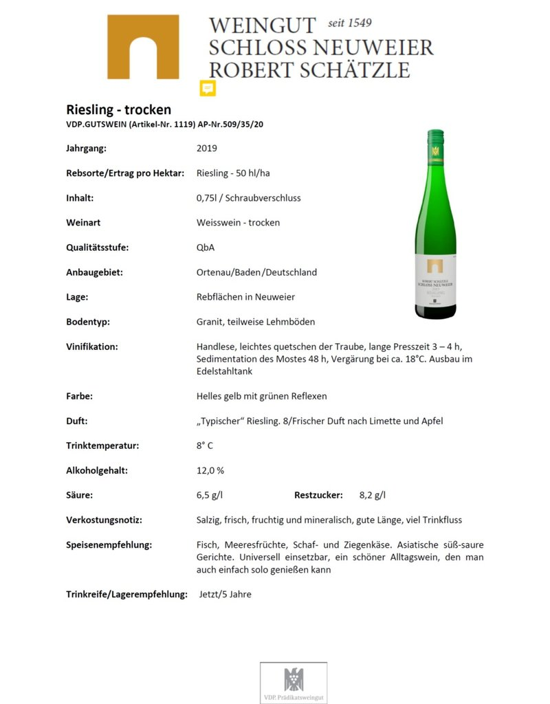 Schloss Neuweier Riesling Trocken - VDP. Gutswein