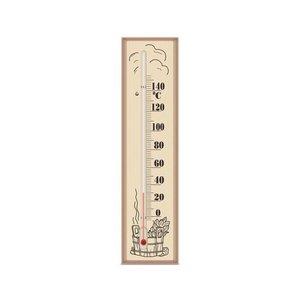 Allesvoordesauna sauna thermometer glas 0-140*C  houten ondergrond