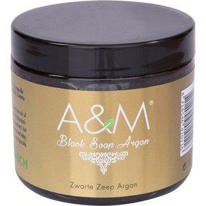 A&M Cosmetics Zwarte zeep met arganolie, black soap argan 200ml. origineel