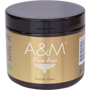 A&M Cosmetics Zwarte zeep naturel, black soap 200ml. origineel