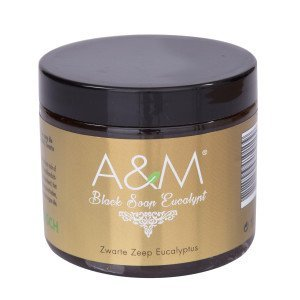 A&M Cosmetics Zwarte zeep eucalyptus, black soap 200ml origineel - Copy