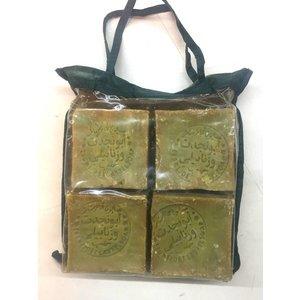Cadeaupakket Aleppo olijfzeep superieur 4x blok 200gr   >70% laurierolie. in origineel tasje. allepo giftset +Kese