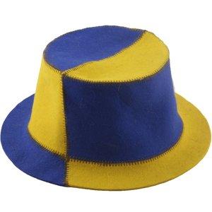 "AVDS saunamuts ""Bikolor"" geel/blauwe hoed met rand wol vilt A-153"