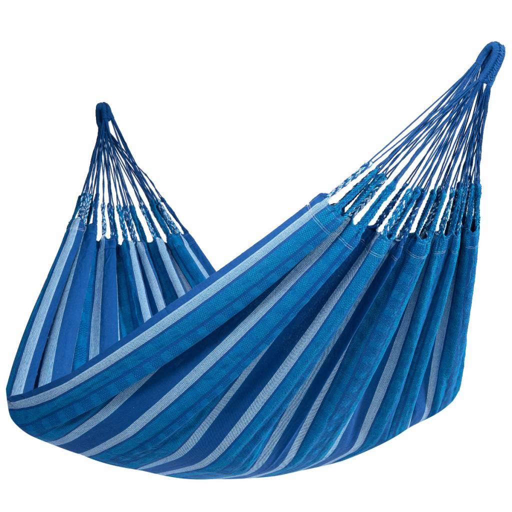 2 Persoons Hangmat Met Houten Standaard.Blue Allesvoordesauna