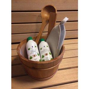 Emendo Sauna set + opgietmiddelen eucalyptus en berk en vilten saunamuts