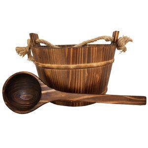 Emendo Sauna set hout. Emmer met kunststof inzetbak en lepel. 3 Liter