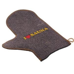 AVDS sauna handschoen vilt natuurlijk wol vilt A-023 met tekst 'I love sauna'