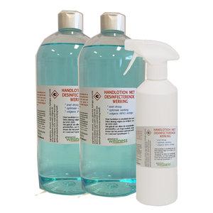 Gewoon Wellness hand lotion met desinfecterende werking 2 x 1 liter en 1x 0,5 liter in sprayfles