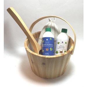 Emendo saunaset  cadeau set blank hout emmer met geurtjes en muts