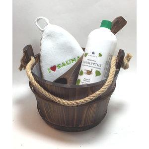 Emendo saunaset  cadeau set emmer met touw en lepel, eucalyptus en saunamuts