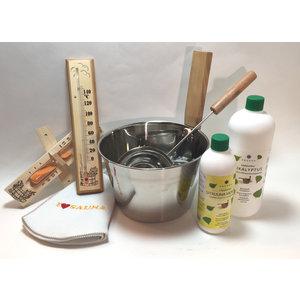 Emendo saunaset  cadeau set  stalen emmer en lepel,zandloper, thermometer, saunamuts en 2 saunageuren