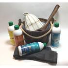Emendo saunaset  cadeau set emmer met touw en lepel, 4x 500ml geurenset, saunamuts, opgiethanddoek
