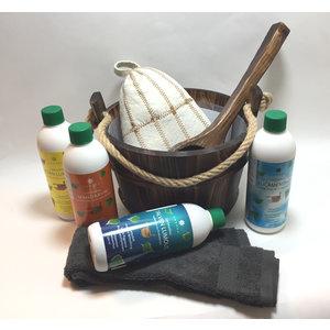 Emendo saunaset  cadeau set emmer met touw en lepel, 4x 500ml geurenset, saunamuts, opgiethanddoek + mini-cursus opgieten