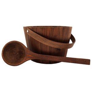 Emendo Sauna set hout. Emmer met handvat en inzetbak en lepel 3 Liter donker