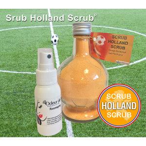 AVDS oranje voetbal belevingsset.  scrub-holland-scrub,  scrubzoutvoetbal, voetbalveld geurspray,