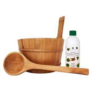 Emendo Saunaset, Houten gelakte sauna emmer 3 liter met kunsstof inzetbak, lepel en saunageur Eucalyptus 500ml