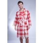 Allesvoordesauna Hamam badjas rood classic geruit