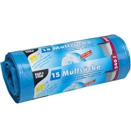 PAPSTAR Müllsack, LDPE, 0,043 mm, 240 l, 125 x 100 cm, blau
