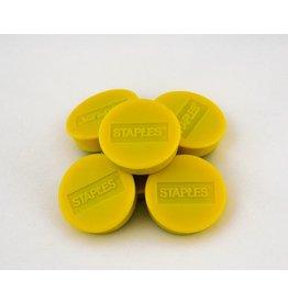 STAPLES Magnet, für 12 Blatt A4 80 g/m², rund, Ø: 30 mm, gelb