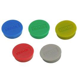 STAPLES Magnet, für 8 Blatt A4 80 g/m², rund, Ø: 25 mm, sortiert
