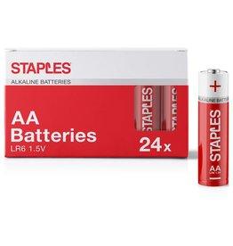 STAPLES Batterie, Alkaline, Mignon, AA, LR6, 1,5 V